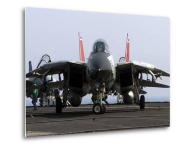 An F-14D Tomcat On the Flight Deck of USS Theodore Roosevelt-Stocktrek Images-Metal Print