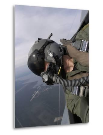 Cockpit View of a Pilot Flying An F-15 Eagle-Stocktrek Images-Metal Print