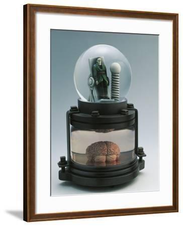 Close-Up of a Figurine of Frankenstein in a Snow Globe--Framed Photographic Print