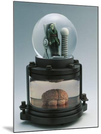 Close-Up of a Figurine of Frankenstein in a Snow Globe--Mounted Photographic Print