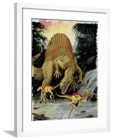 Spinosaurus Dinosaur Hunting Another Dinosaurs--Framed Photographic Print