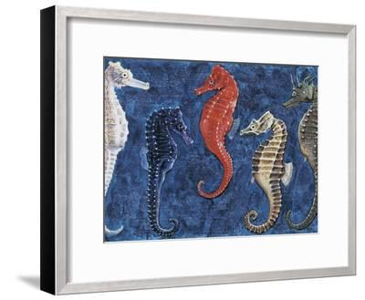 Close-Up of Five Seahorses Side by Side (Hippocampus Guttulatus)--Framed Photographic Print