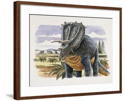 Four Dinosaurs in Landscape--Framed Photographic Print