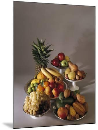 Close-Up of Fruits in Plates and Bowls--Mounted Photographic Print
