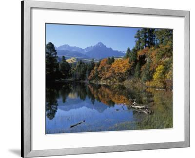 Colorful Autumn Forest in Front of Mount Sneffels Reflected in Water-Jeff Foott-Framed Photographic Print