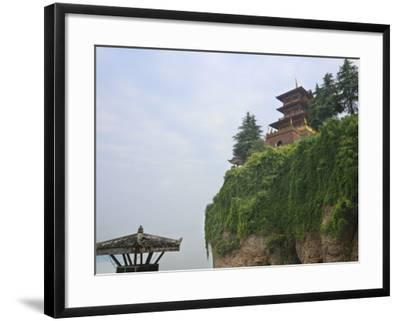 China, Hubei Province, Near Yichang, Ancient Tiger Tooth Battleground, Ancient Pagoda on the Cliff-Keren Su-Framed Photographic Print