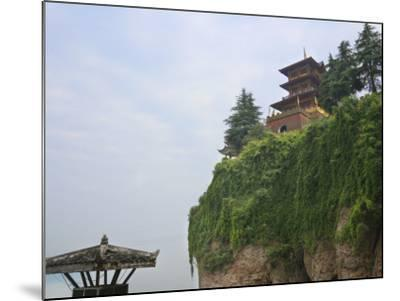 China, Hubei Province, Near Yichang, Ancient Tiger Tooth Battleground, Ancient Pagoda on the Cliff-Keren Su-Mounted Photographic Print