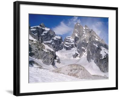 Detail of Snow-Covered Grand Teton, Mount Owen and Teton Glacier-Jeff Foott-Framed Photographic Print