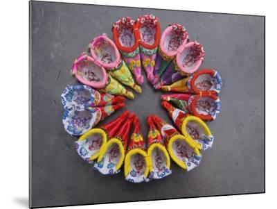 China, Traditional Colorful Embroidered Shoes for Bound Feet-Keren Su-Mounted Photographic Print