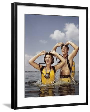 Couple Scuba Diving-Dennis Hallinan-Framed Photographic Print