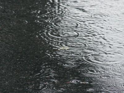 Rain Falling on Puddle--Framed Photographic Print