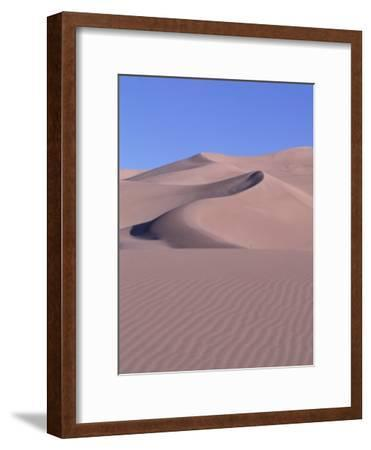 Blue Sky and Sand Dunes with Ripples and Crescent Crests-Jeff Foott-Framed Photographic Print