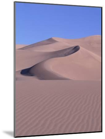 Blue Sky and Sand Dunes with Ripples and Crescent Crests-Jeff Foott-Mounted Photographic Print
