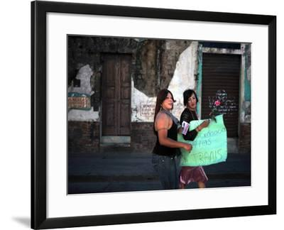 Transsexuals March in Guatemala City On-Eitan Abramovich-Framed Photographic Print