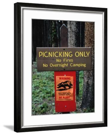 Warning Sign Reads: Picnicking Only-No Fires-No Overnight Camping-Jeff Foott-Framed Photographic Print