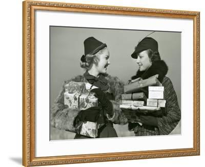 Women Shopping With Christmas Packages-George Marks-Framed Photographic Print