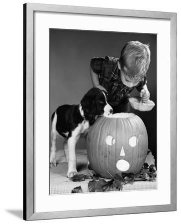 Boy and Jack-O-Lantern-H^ Armstrong Roberts-Framed Photographic Print