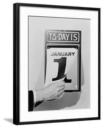 Man's Hand Tearing January 1 Page Off of Daily Wall Calendar-H^ Armstrong Roberts-Framed Photographic Print