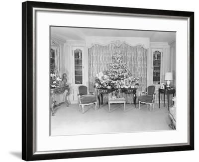 Heavily Decorated Christmas Tree Standing on Period Table-George Marks-Framed Photographic Print