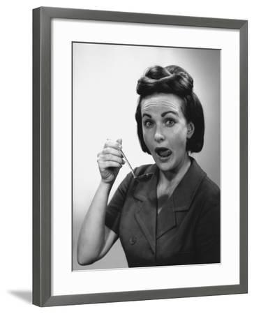 Woman Holding Ladle, Licking Lips, Portrait-George Marks-Framed Photographic Print