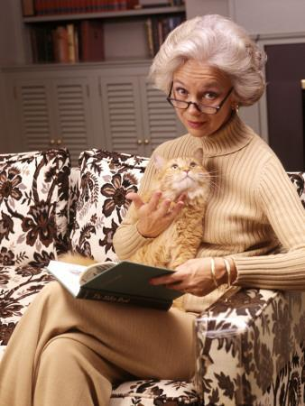 Woman Reading Book, Holding Orange Tabby Cat-H^ Armstrong Roberts-Framed Photographic Print
