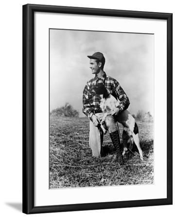 Man Kneeling Down Next To Setter, Arm Around Dog-H^ Armstrong Roberts-Framed Photographic Print