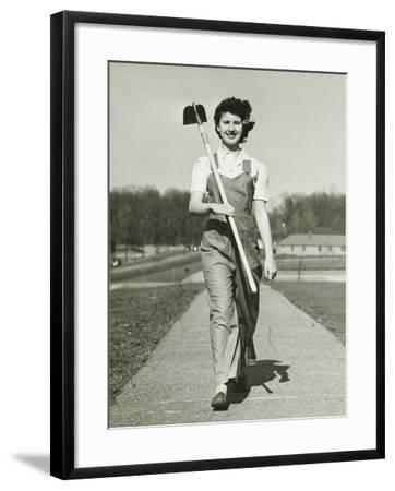Woman With Hoe Walking on Path, Portrait-George Marks-Framed Photographic Print