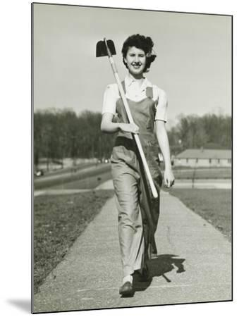 Woman With Hoe Walking on Path, Portrait-George Marks-Mounted Photographic Print