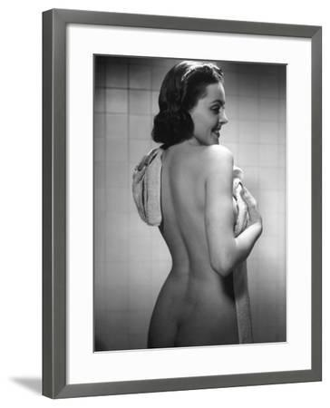 Naked Woman Drying Off With Towel-George Marks-Framed Photographic Print