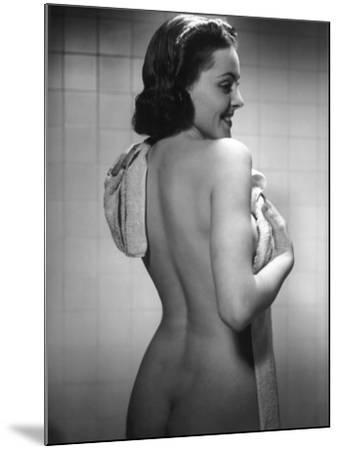 Naked Woman Drying Off With Towel-George Marks-Mounted Photographic Print
