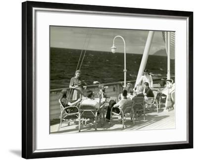 People Having Drinks on Deck of Cruise Ship-George Marks-Framed Photographic Print