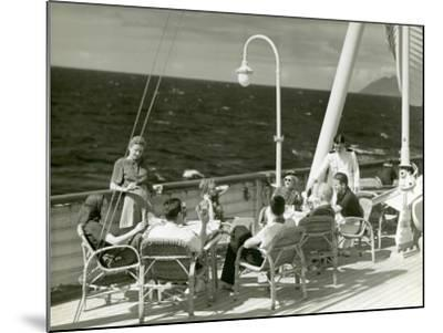 People Having Drinks on Deck of Cruise Ship-George Marks-Mounted Photographic Print