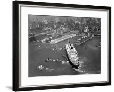 Ocean Liner With Tug Boats in NY Harbor-George Marks-Framed Photographic Print