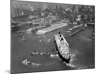 Ocean Liner With Tug Boats in NY Harbor-George Marks-Mounted Photographic Print