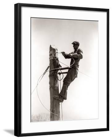 Working Atop Utility Pole-H^ Armstrong Roberts-Framed Photographic Print