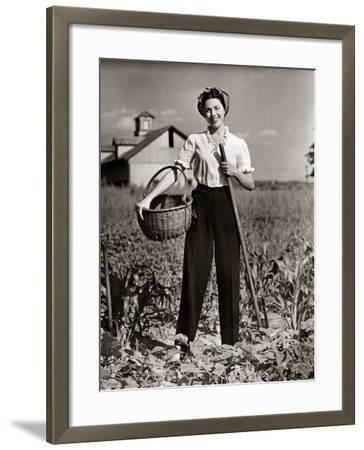Woman Standing in Cornfield With Hoe and Basket-George Marks-Framed Photographic Print
