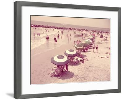 Summer Beach Scene, People Relaxing on Sandy Shore, New Jersey-H^ Armstrong Roberts-Framed Photographic Print