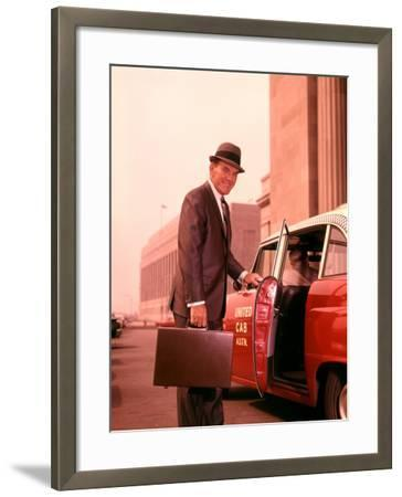 Salesman With Attache Case About To Enter Taxi Cab-H^ Armstrong Roberts-Framed Photographic Print