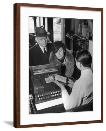 Couple Picking Up Prescription in Pharmacy-George Marks-Framed Photographic Print