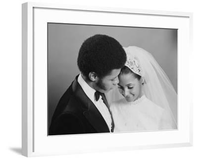 Newlywed Couple, Groom Leaning in Towards Bride-H^ Armstrong Roberts-Framed Photographic Print