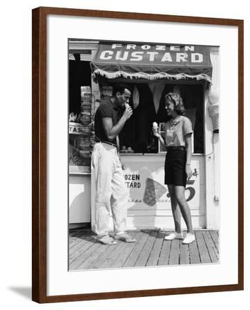 Couple Walking Along Boardwalk in Summer-H^ Armstrong Roberts-Framed Photographic Print