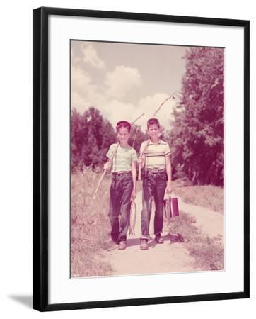 Two Boys Walking Down Lane, Carrying Twig Fishing Poles-H^ Armstrong Roberts-Framed Photographic Print