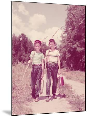 Two Boys Walking Down Lane, Carrying Twig Fishing Poles-H^ Armstrong Roberts-Mounted Photographic Print
