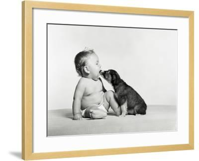 Baby and Dog-H^ Armstrong Roberts-Framed Photographic Print
