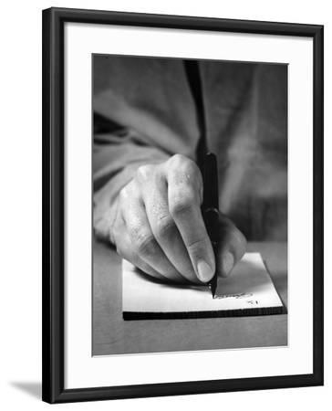Physician's Hand Writing Prescription-George Marks-Framed Photographic Print