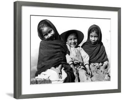 Portrait of Three Smiling Children, Sitting Together, Mexico-H^ Armstrong Roberts-Framed Photographic Print