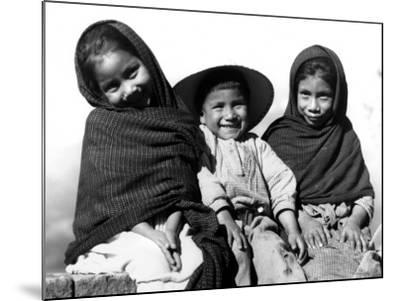 Portrait of Three Smiling Children, Sitting Together, Mexico-H^ Armstrong Roberts-Mounted Photographic Print