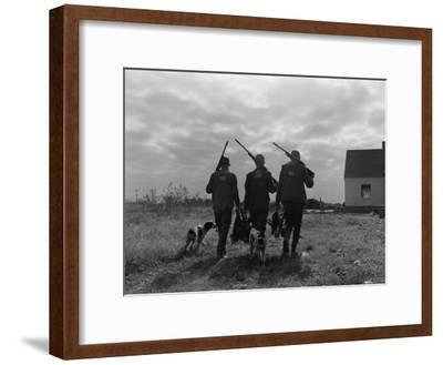 Silhouette Back View of Three Upland Bird Hunters With Shotguns-H^ Armstrong Roberts-Framed Photographic Print