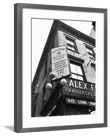 Comerical Sign at Building Corner, Low Angle View-George Marks-Framed Photographic Print