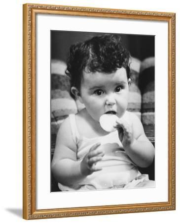 Baby Girl (6-12 Months) Eating Cookie, Sitting on Sofa, Close-Up-George Marks-Framed Photographic Print